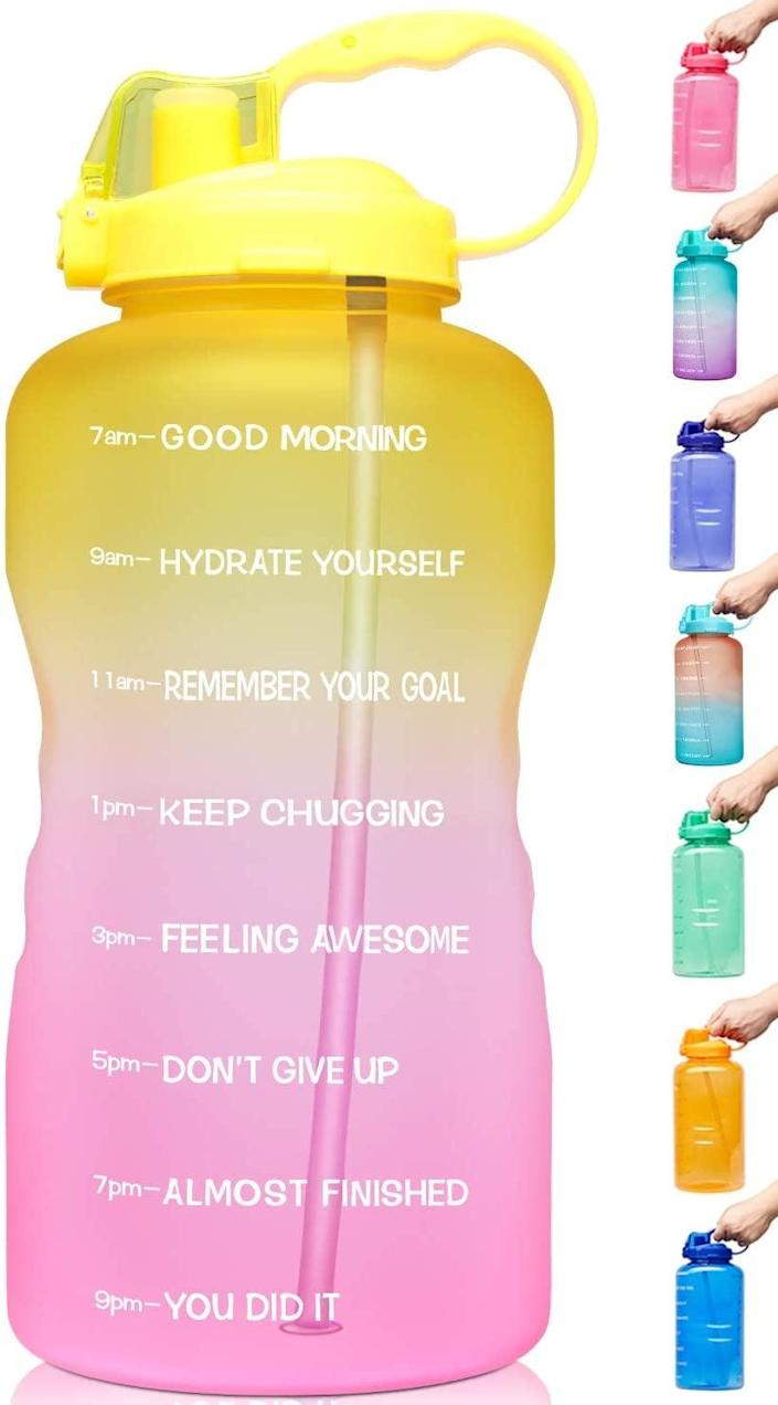 <p>The colorful look of this <span>Venture Pal Large Gallon Motivational Water Bottle</span> ($22) may not only brighten up your day, but inspire you to drink more water.</p>