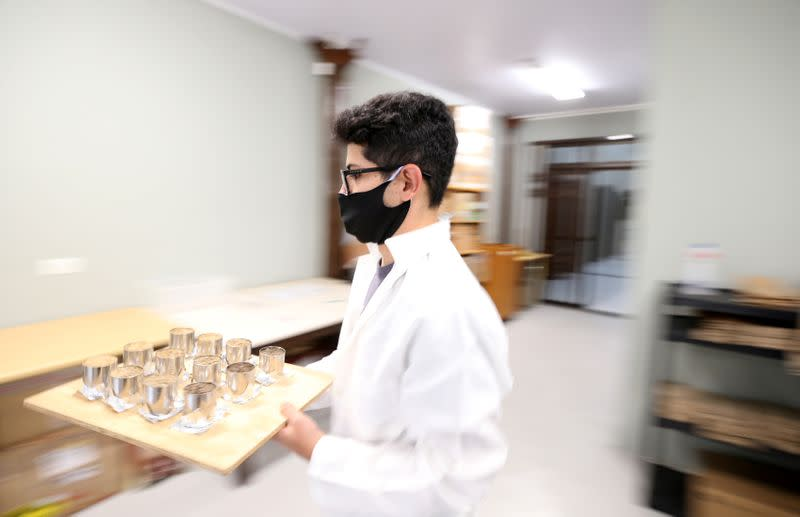 Brazilian rforestry student Sanquetta separates material collected in the Amazon at the Center of Excellence in Research on Carbon Fixation in Biomass in Curitiba