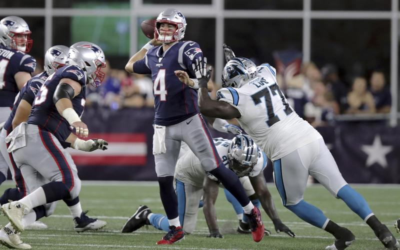 New England Patriots quarterback Jarrett Stidham had a productive rookie preseason. (AP Photo/Charles Krupa)