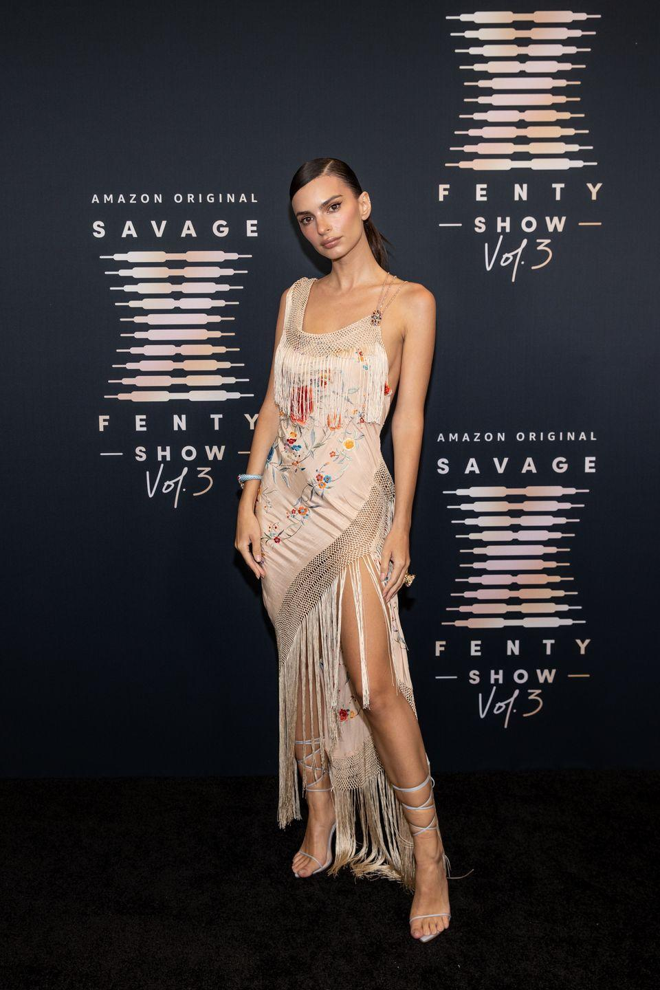 <p><strong>22 September</strong></p><p>The model attended the Savage x Fenty event in a fringed Morphew dress.</p>