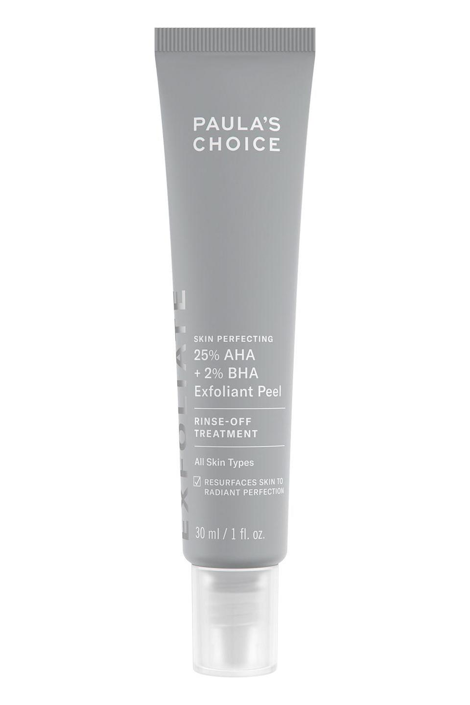 """<p><strong>Paula's Choice</strong></p><p>sephora.com</p><p><strong>$39.00</strong></p><p><a href=""""https://go.redirectingat.com?id=74968X1596630&url=https%3A%2F%2Fwww.sephora.com%2Fproduct%2Fpaula-s-choice-skin-perfecting-25-aha-2-bha-exfoliant-peel-P469528&sref=https%3A%2F%2Fwww.cosmopolitan.com%2Fstyle-beauty%2Fbeauty%2Fg30554130%2Fbest-at-home-face-peel%2F"""" rel=""""nofollow noopener"""" target=""""_blank"""" data-ylk=""""slk:Shop Now"""" class=""""link rapid-noclick-resp"""">Shop Now</a></p><p>I've been using this chemical peel at home once a week for a few months now and am loving the results. Inside the tube: a blend of AHAs (including lactic, mandalic, and <a href=""""https://www.cosmopolitan.com/style-beauty/beauty/g32909773/glycolic-acid-serum/"""" rel=""""nofollow noopener"""" target=""""_blank"""" data-ylk=""""slk:glycolic acids"""" class=""""link rapid-noclick-resp"""">glycolic acids</a>) and salicylic acid to <strong>shrink pores and give your skin a smoother, softer </strong><strong>feel</strong>.</p>"""