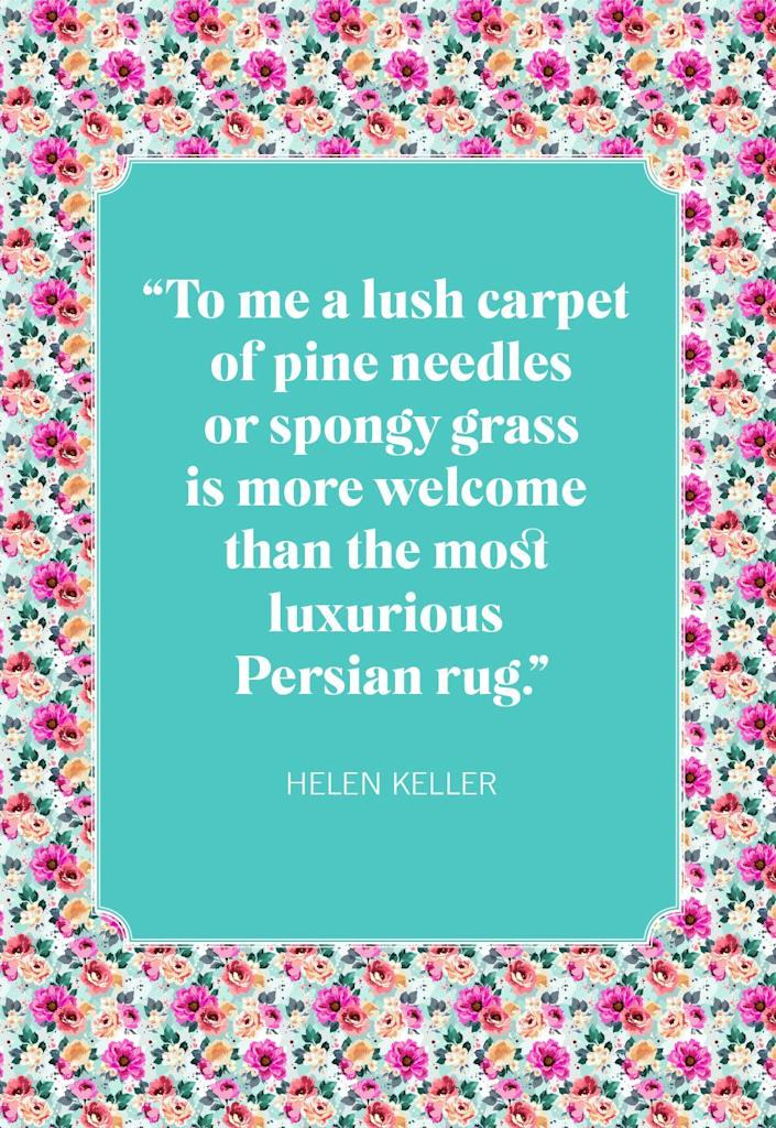 """<p>""""To me a lush carpet of pine needles or spongy grass is more welcome than the most luxurious Persian rug.""""</p>"""