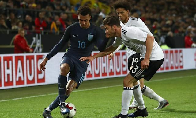 "<span class=""element-image__caption"">Dele Alli teases Jonas Hector of Germany with Leroy Sané looking on during Wednesday's friendly. </span> <span class=""element-image__credit"">Photograph: Alex Grimm/Bongarts/Getty Images</span>"