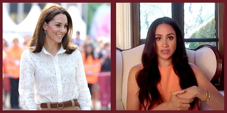 """<p>It goes without saying that both the Duchess of Cambridge, Kate Middleton, and the Duchess of Sussex, Meghan Markle have very different—but no less tasteful—personal styles. While Middleton opts for a <a href=""""https://www.townandcountrymag.com/style/fashion-trends/news/g1633/kate-middleton-fashion/"""" rel=""""nofollow noopener"""" target=""""_blank"""" data-ylk=""""slk:more conservative and classic"""" class=""""link rapid-noclick-resp"""">more conservative and classic</a> aesthetic, her American sister-in-law leans more towards <a href=""""https://www.townandcountrymag.com/style/fashion-trends/g3272/meghan-markle-preppy-style/"""" rel=""""nofollow noopener"""" target=""""_blank"""" data-ylk=""""slk:cool-girl, effortless style with a hint of prep."""" class=""""link rapid-noclick-resp"""">cool-girl, effortless style with a hint of prep.</a> But every now and again, they have some overlap—and not just because they married into the same family. Specifically, the royals seem to share similar taste in the <a href=""""https://www.townandcountrymag.com/style/jewelry-and-watches/g28089804/meghan-markle-favorite-jewelry/"""" rel=""""nofollow noopener"""" target=""""_blank"""" data-ylk=""""slk:realm of accessories"""" class=""""link rapid-noclick-resp"""">realm of accessories</a>. While Middleton<a href=""""https://www.townandcountrymag.com/style/jewelry-and-watches/a28353967/kate-middleton-monica-vinader-earrings-jewelry/"""" rel=""""nofollow noopener"""" target=""""_blank"""" data-ylk=""""slk:has been a fan"""" class=""""link rapid-noclick-resp""""> has been a fan </a>of Monica Vinader Jewelry for many years, wearing pieces from a number of the brand's hero collections over the years, in the past few months, Markle has appeared in a number of Zoom conferences and videos, wearing a Monica Vinader piece as part of the stack on her wrist. </p><p>In a true testament to their personal styles, while the Duchess of Cambridge prefers an earring and necklace pairing, the Duchess of Sussex is keen about a good bracelet stack. The specific pieces in question? Over the years Middleton has appear"""