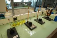 Chemical analysis equipment is seen in the laboratory of Swiss refinery Metalor in Marin