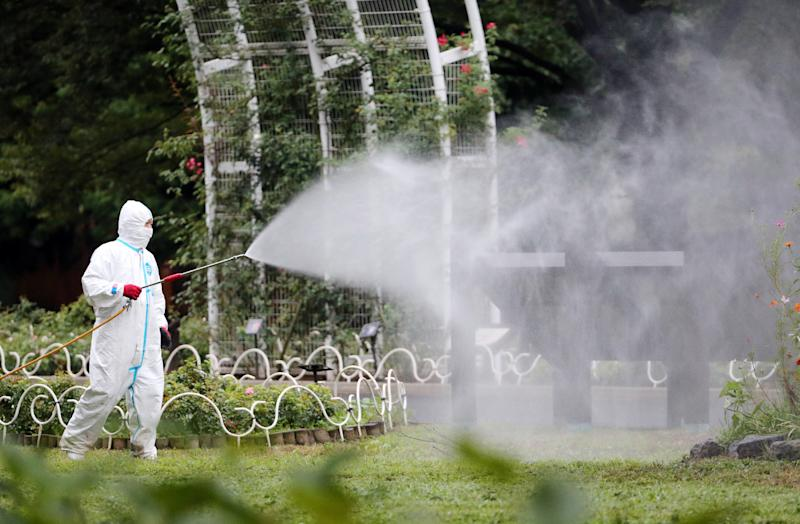 A worker sprays insecticide at Yoyogi Park, believed to be the source of a dengue fever outbreak, on August 28, 2014