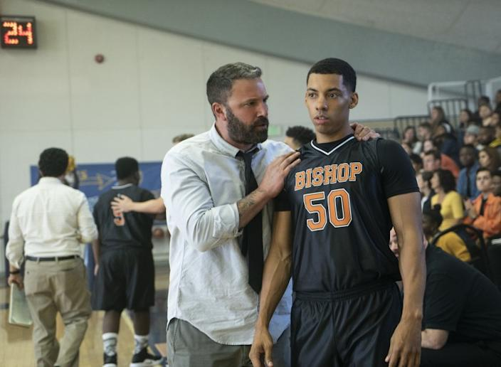 "Ben Affleck, left, and Melvin Gregg in the 2020 sports drama ""The Way Back"" on HBO. <span class=""copyright"">(Richard Foreman)</span>"