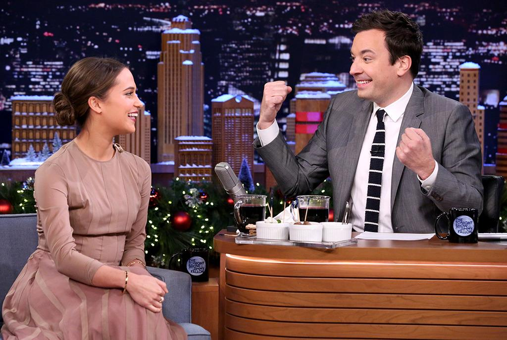 """<p>Full-court press: Vikander swung by Jimmy Fallon's NBC studio in New York on Dec. 16 to celebrate the holidays, <a href=""""https://www.youtube.com/watch?v=Nd-PpktcaL0"""">Swedish-style</a>. </p><p><i>(Photo: Douglas Gorenstein/NBC/Getty Images)</i></p>"""