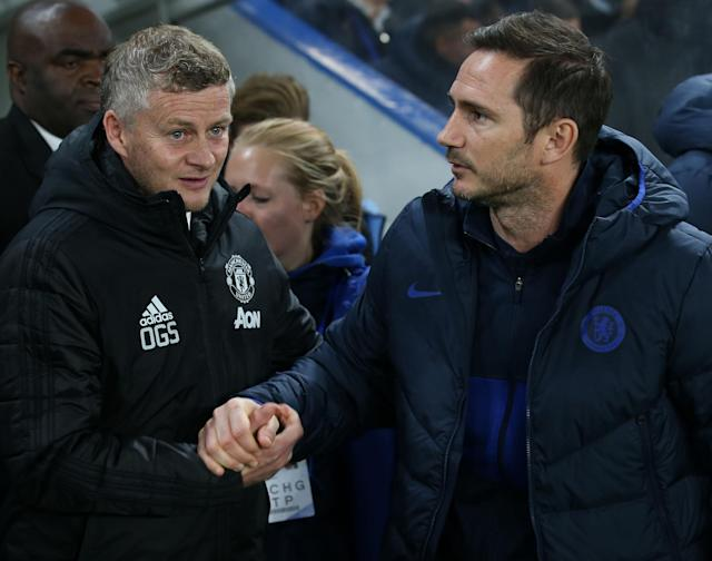 Solskjaer and Lampard meet again in the dugout on Monday Photo: Manchester United via Getty Images