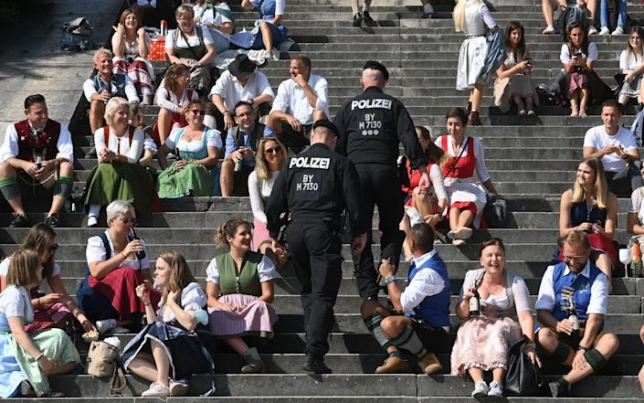 Police kept a close eye on revellers in Munich yesterday - Getty