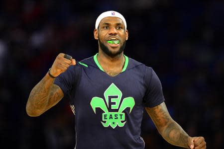 Feb 16, 2014; New Orleans, LA, USA; Eastern Conference forward LeBron James (6) of the Miami Heat celebrates after the 2014 NBA All-Star Game at the Smoothie King Center. Mandatory Credit: Bob Donnan-USA TODAY Sports
