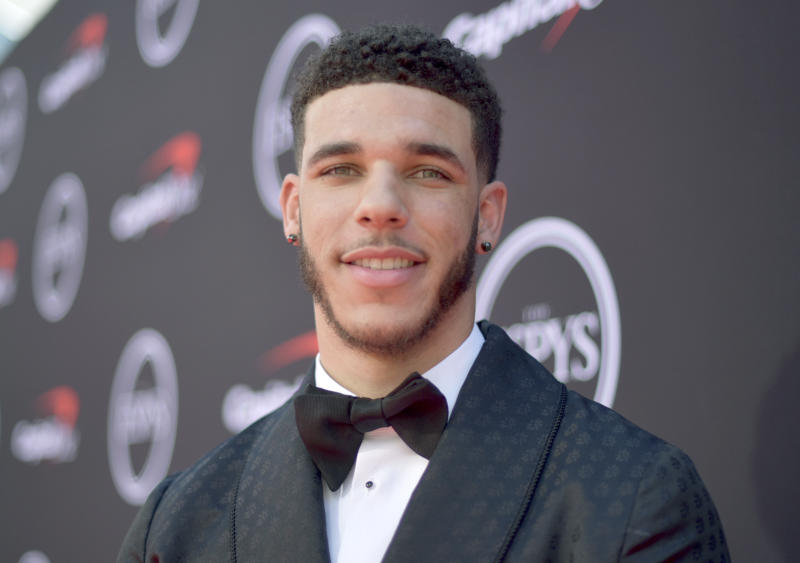 NBA player Lonzo Ball, of the New Orleans Pelicans, arrives at the ESPY Awards on Wednesday, July 10, 2019, at the Microsoft Theater in Los Angeles. (Photo by Richard Shotwell/Invision/AP)