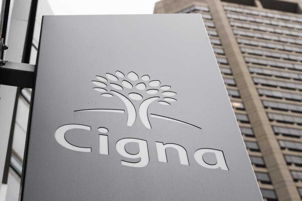 FILE- This Nov. 26, 2018, file photo shows the Cigna Corp., logo at the headquarters of the health insurer in Philadelphia. Cigna Corp. reports financial results Thursday, Aug. 1. (AP Photo/Matt Rourke, File)