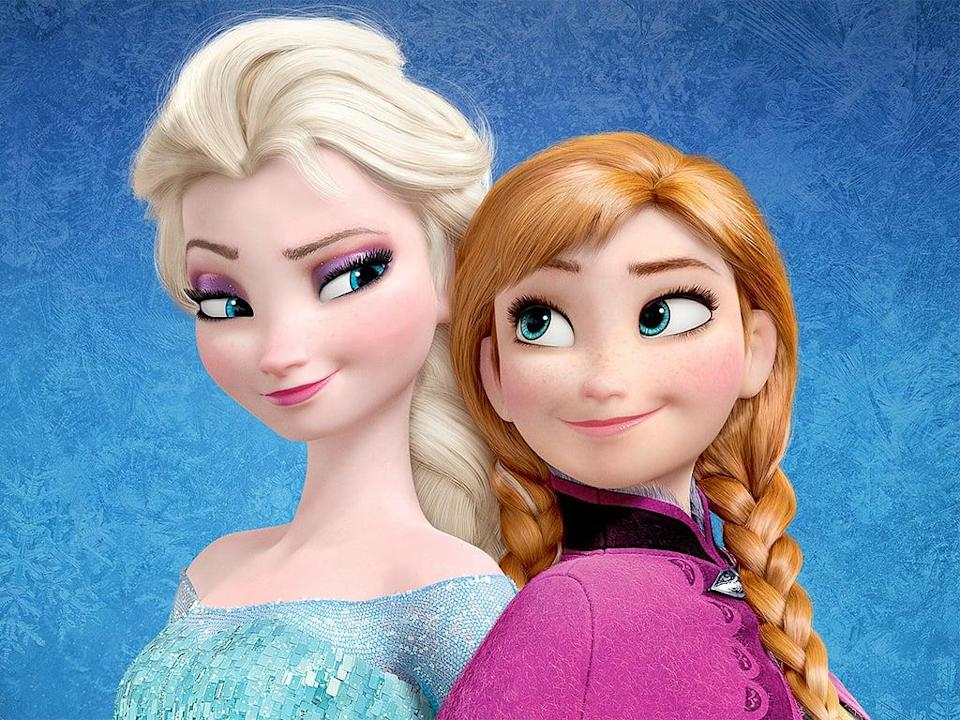 <ul> <li><strong>What to wear for Elsa:</strong> Just the regular, run-of-the-mill, gorgeous, sparkly blue dress you have in your closet, plus a blond, braided wig.</li> <li><strong>What to wear for Anna:</strong> Red wig with braided pigtails, a blue skirt, black vest, and a pink cape.</li> </ul>