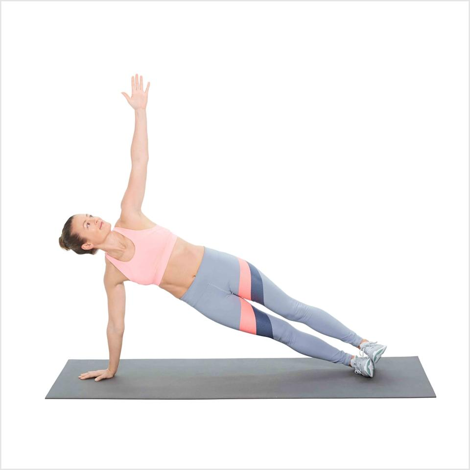 """<p>Side planks challenge your obliques enough as is, but if you want an extra challenge, drop down to one knee and crunch it up to tap your top leg, as Anna demos in this <a href=""""https://www.instagram.com/p/B79BKYlgiiO/"""" target=""""_blank"""" class=""""ga-track"""" data-ga-category=""""Related"""" data-ga-label=""""https://www.instagram.com/p/B79BKYlgiiO/"""" data-ga-action=""""In-Line Links"""">Super Bowl circuit</a>. </p> <ul> <li>Balance on your right hand and the outside edge of your right foot, with your body in one straight line. To modify, stagger your feet and bring your top leg forward.</li> <li>Hold strong for 60 seconds.</li> </ul>"""
