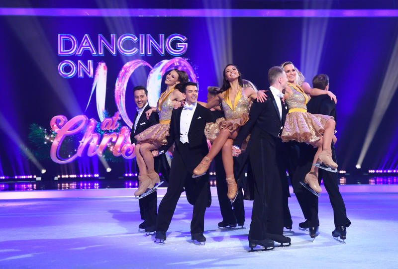 Professional skaters during the Dancing On Ice 2019 photocall at the Dancing On Ice Studio, ITV Studios, Old Bovingdon Airfield on December 09, 2019 in Bovingdon, England. (Photo by Karwai Tang/WireImage)