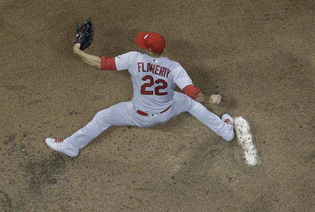 St. Louis Cardinals starting pitcher Jack Flaherty throws during the third inning of a baseball game against the Milwaukee Brewers Friday, March 29, 2019, in Milwaukee. (AP Photo/Morry Gash)