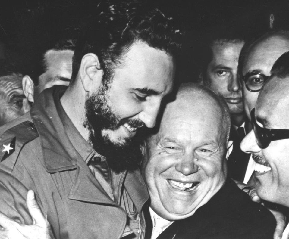 <p>Cuban Prime Minister Fidel Castro, left, is embraced by Soviet Premier Nikita Khrushchev in the United Nations General Assembly on Sept. 20, 1960. The two men are included in the rogues' gallery of unsavory world leaders who have visited New York for the U.N. General Assembly. (AP Photo/Marty Lederhandler) </p>
