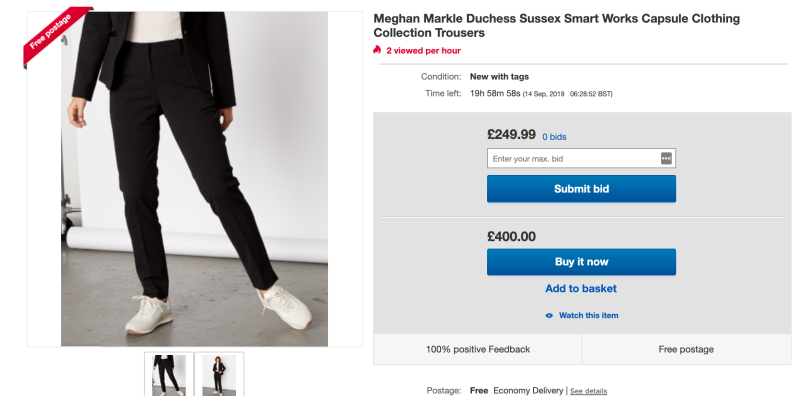 Meghan Markle's Jigsaw trousers are being sold for £400 on eBay [Photo: eBay]