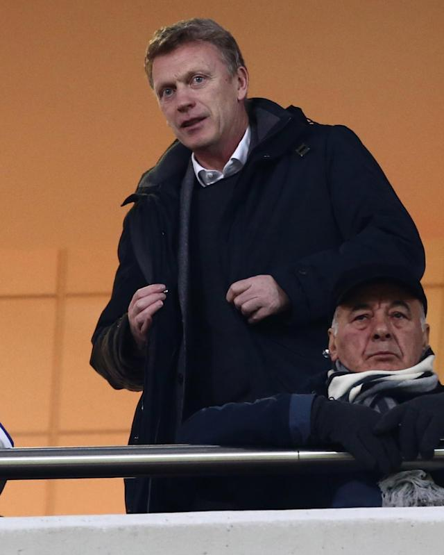 Manchester United manager David Moyes watches a Greek league soccer match at Karaiskaki Stadium, in port of Piraeus, near Athens, on Wednesday, Feb. 5, 2014. The Scottish coach traveled to Greece to watch Olympiakos before his team faces the Greek side in the Champions League on Feb. 25 and March 19. The defending Greek champion ended its 23rd league game undefeated Wednesday, beating Panionios 2-0. (AP Photo/InTime Sports, Yorgos Matthaios)
