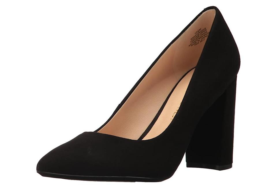 black, block heels, pumps, pointed-toe, suede, nine west