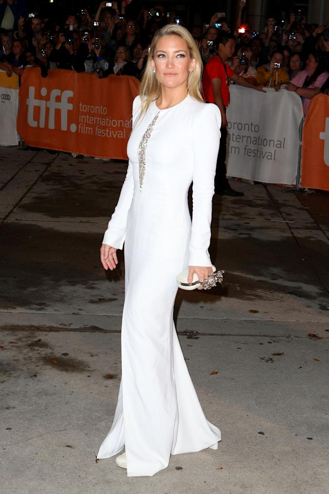 BEST: Kate Hudson was easily the toast of TIFF 2012 -- at least, as far as this outfit goes. Her white, long-sleeved Alexander McQueen gown fits her perfectly, and she made a great choice by choosing a purse and shoes from the designer label as well. It's rare to see a red carpet look that is 100 per cent perfect, but if this isn't perfect, it comes incredibly close.