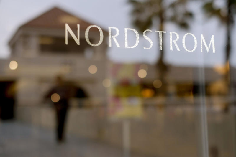 FILE - This May 9, 2013 file photo shows a Nordstrom sign at a shopping mall in Brea, Calif. Nordstrom is expected to report quarterly results on Friday, Nov. 15, 2013. (AP Photo/Jae C. Hong, File)