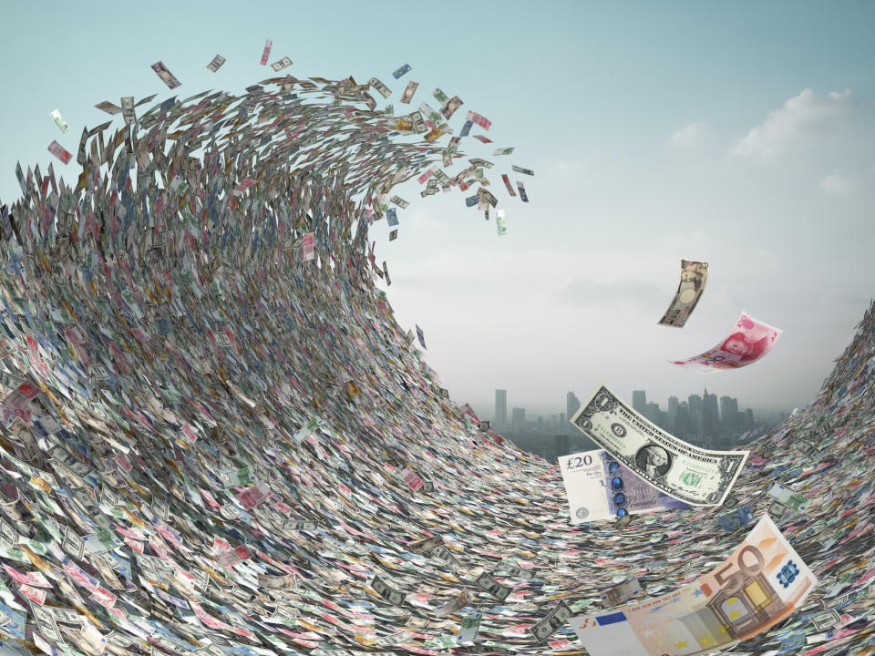 Tidal wave of international currencies. Image: Getty