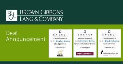Brown Gibbons Lang & Company (BGL) is pleased to announce the sale of ENERGI Fenestration Solutions, Ltd. (ENERGI), a portfolio company of OpenGate Capital. BGL's Industrials team served as the exclusive financial advisor to ENERGI in the process. The specific terms of the transaction were not disclosed.