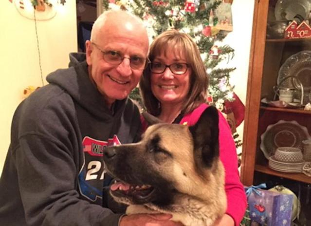 Bert and Jo Lynne Clement at home with their dog, December 2016. (Photo: courtesy of the family)
