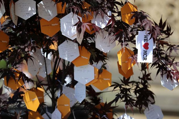 Messages hang on a Tree of Hope in Manchester