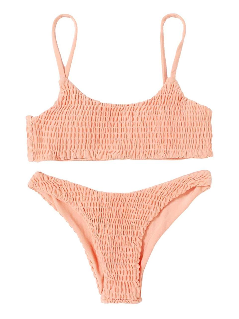 This suit comes in 11 colors. This peach would look fabulous on any skin tone. Available in sizes S to XL.