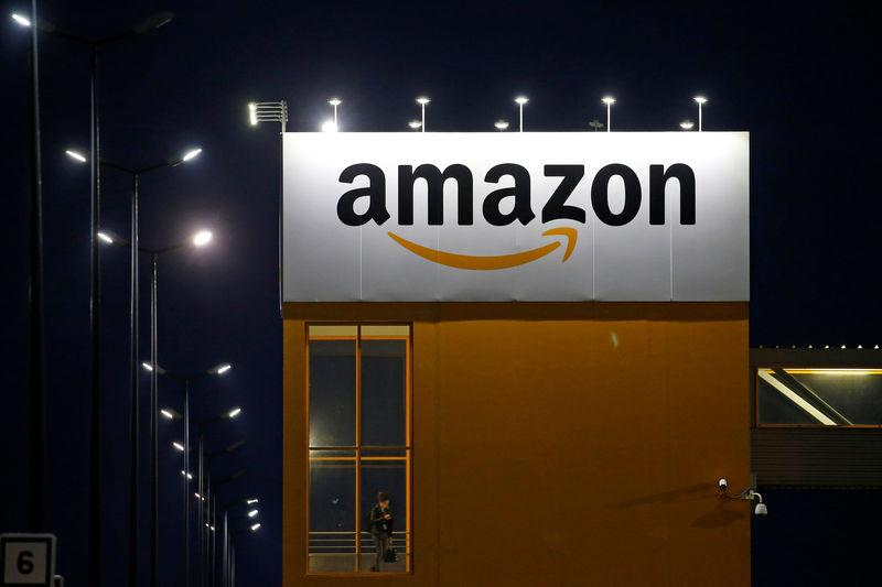 FILE PHOTO: Amazon logo is seen at the company logistics center in Lauwin-Planque