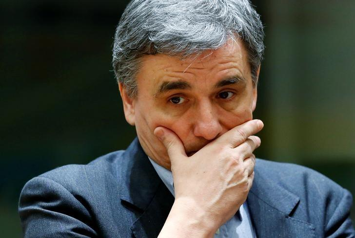 Greek Finance Minister Tsakalotos attends a eurozone finance ministers meeting in Brussels