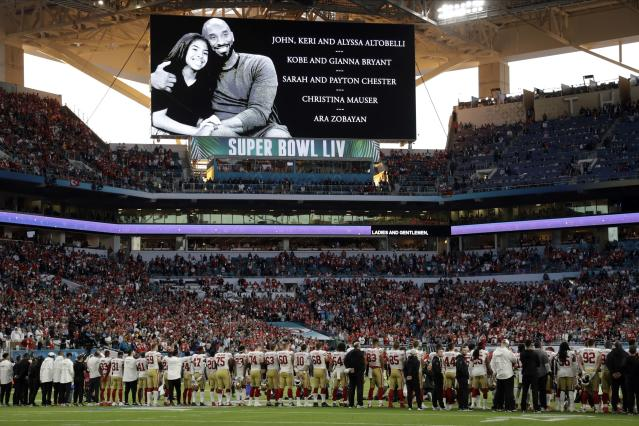 "Kobe Bryant and his daughter Gianna Bryant are honored along with all of the helicopter crash victims before the NFL Super Bowl 54 football game between the <a class=""link rapid-noclick-resp"" href=""/nfl/teams/san-francisco/"" data-ylk=""slk:San Francisco 49ers"">San Francisco 49ers</a> and <a class=""link rapid-noclick-resp"" href=""/nfl/teams/kansas-city/"" data-ylk=""slk:Kansas City Chiefs"">Kansas City Chiefs</a> Sunday, Feb. 2, 2020, in Miami Gardens, Fla. (AP Photo/Chris O'Meara)"