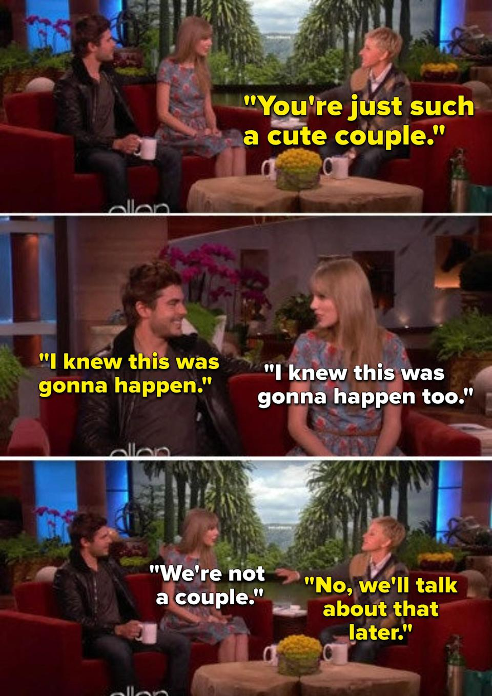 Ellen telling Taylor Swift and Zac Efron they're a cute couple even though they weren't dating