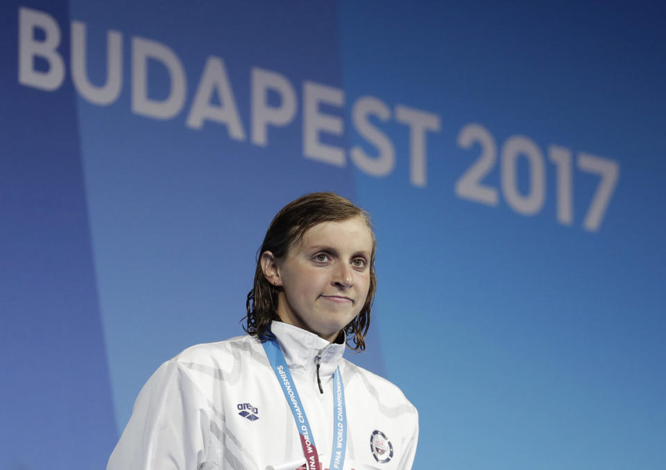 Katie Ledecky announced Monday she will turn pro, but will continue training at Stanford. (AP)
