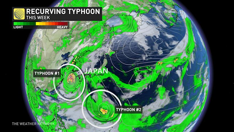 Two typhoons recurving