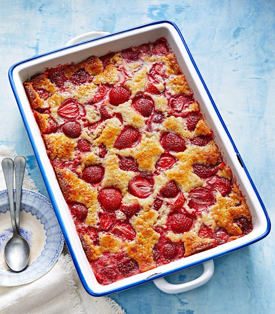"<p><strong>Recipe: </strong><a href=""https://www.southernliving.com/recipes/cakey-strawberry-cobbler"" rel=""nofollow noopener"" target=""_blank"" data-ylk=""slk:Cakey Strawberry Cobbler"" class=""link rapid-noclick-resp""><strong>Cakey Strawberry Cobbler</strong></a></p> <p>This tender cobbler recipe is perfect as-is, but we loved to see the different variations our readers dreamed up when making it. You can use this easy, yummy cobbler recipe with any fruit you have on hand, regardless the season.</p>"