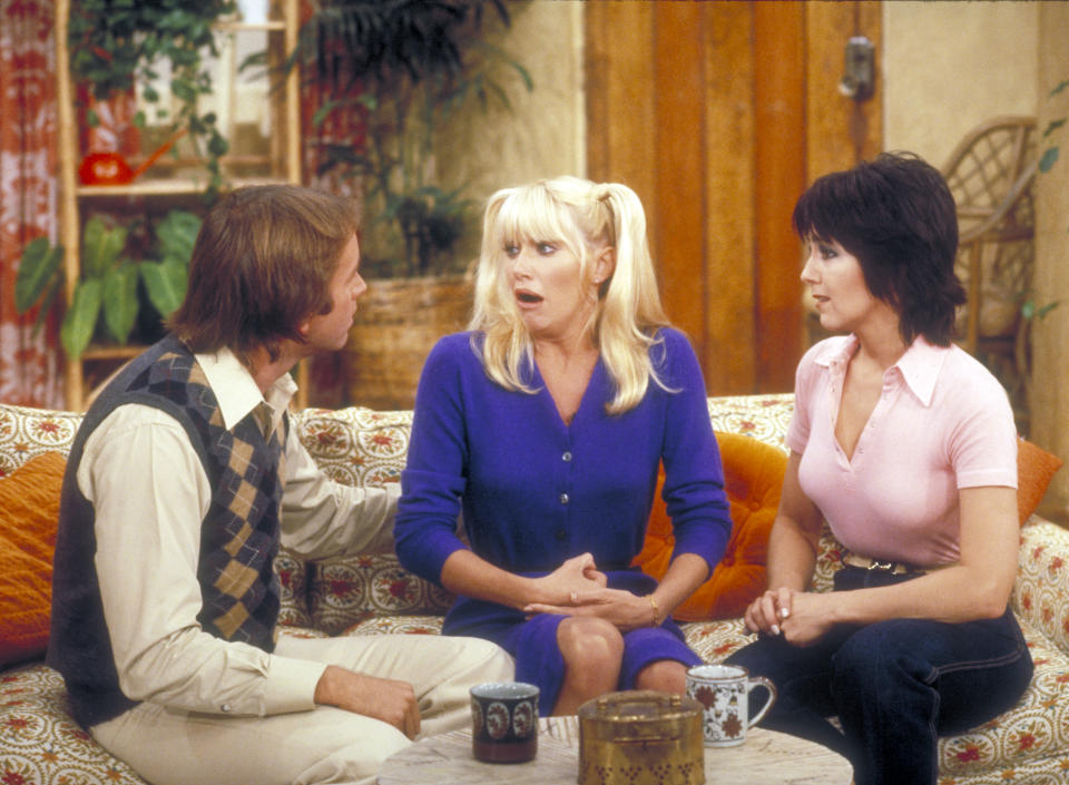 Suzanne Somers as Chrissy Snow with Three's Company co-stars John Ritter and Joyce DeWitt.
