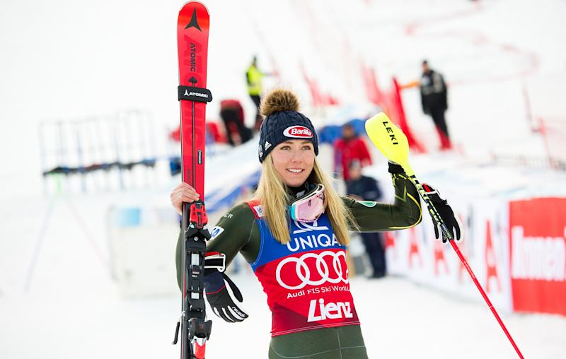 Mikaela Shiffrin of the US celebrates after winning the women's Slalom event of the Alpine Skiing World Cup in Lienz, Austria, on December 29, 2019. (Photo by Michael GRUBER / various sources / AFP) / Austria OUT (Photo by MICHAEL GRUBER/EXPA/AFP via Getty Images)
