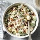 """<p>This creamy broccoli and cauliflower salad has a fabulous crunch. The salad holds well and is perfect for potlucks and picnics. Our version has considerably less sugar than most Amish salad recipes and is lighter because we use a mixture of low-fat Greek yogurt and mayonnaise for the dressing. <a href=""""http://www.eatingwell.com/recipe/266224/amish-broccoli-salad/"""" rel=""""nofollow noopener"""" target=""""_blank"""" data-ylk=""""slk:View recipe"""" class=""""link rapid-noclick-resp""""> View recipe </a></p>"""