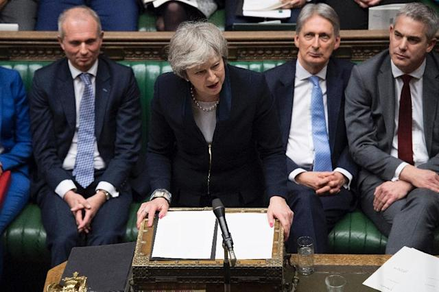 May suffered the largest government defeat in modern British history when the House of Commons rejected the withdrawal agreement she struck with Brussels (AFP Photo/Jessica TAYLOR)