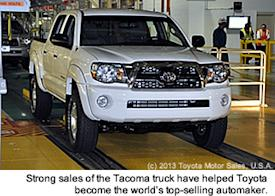 Strong sales of the Tacoma truck have helped Toyota become the world's top-selling automaker.