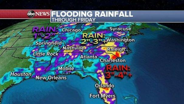 PHOTO: Some of the heavy rain will move into the Northeast later this afternoon into the evening hours, just in time for evening rush hour. Snow will be ending in the Midwest by this afternoon. (ABC News)