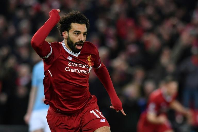 Mohamed Salah celebrates in one of Liverpool's three victories over Manchester City in four meetings last season