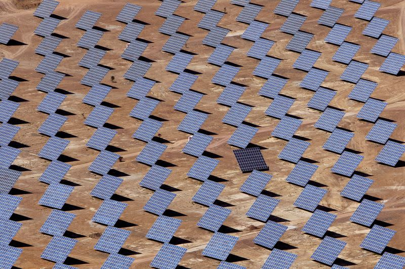 FILE PHOTO: Solar panels are seen at a power plant in Amareleja
