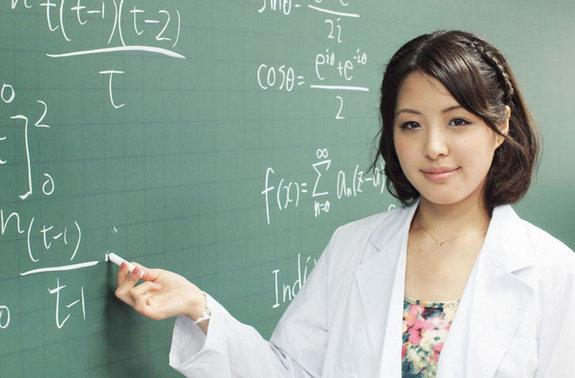 Mariko Uchida, a mathematician, represents one of six contestants in the Miss Rikei Contest.