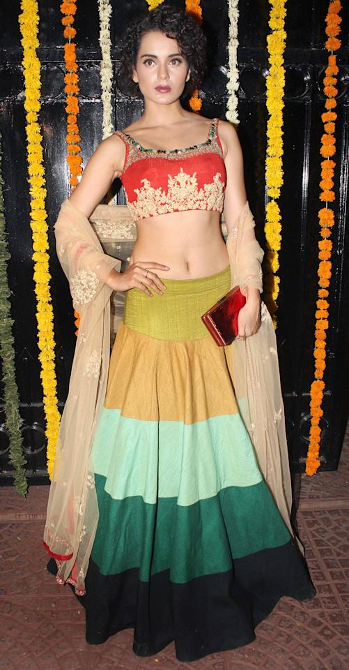 Uber fashionista Kangana Ranaut's lehenga is unconventional yet stylish. We think it could look great at an engagement ceremony.