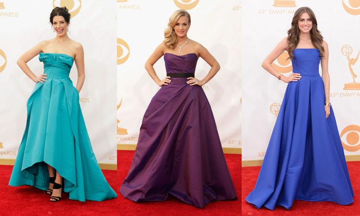 """<div class=""""caption-credit""""> Photo by: Getty Images</div><div class=""""caption-title""""></div><b>Bling Bling, Jewel Shades:</b> Now it wasn't just the starlets' insurance-requiring dazzlers that glimmered on the red carpet-lush jewel tones were colors of choice. Case in point: Jessica Paré's aquamarine Oscar de la Renta, Carrie Underwood's tanzanite-hued Romona Keveza, and Allison Williams' lapis-hued Ralph Lauren. <br> <br> <b>More from <i>Glamour</i>:</b> <br> <a rel=""""nofollow"""" href=""""http://www.glamour.com/beauty/2013/04/25-celebrity-haircuts-that-will-make-you-want-bangs?mbid=synd_yshine"""" target="""""""">25 Celebrity Hairstyles That Will Make You Want Bangs</a> <br> <a rel=""""nofollow"""" href=""""http://www.glamour.com/fashion/2012/08/10-wardrobe-essentials-every-woman-should-own?mbid=synd_yshine"""" target="""""""">10 Wardrobe Essentials Every Woman Should Own</a> <br>"""